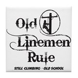 Old Linemen Rule Tile Coaster