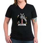 Babcock Family Crest  Women's V-Neck Dark T-Shirt