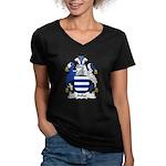 Aske Family Crest Women's V-Neck Dark T-Shirt
