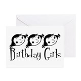 Retro Birthday Girls  Greeting Cards (Pk of 10)