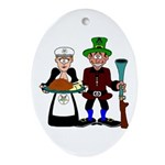 Thanksgiving Pilgrims Oval Ornament