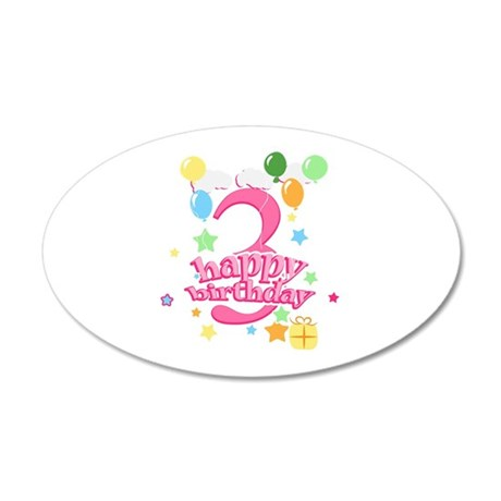 3rd Birthday with Balloons - 20x12 Oval Wall Decal