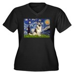 Starry / G-Shep Women's Plus Size V-Neck Dark T-Sh