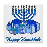 Menorah and Gifts Tile Coaster