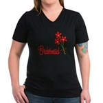 Bouquet Bridesmaid Women's V-Neck Dark T-Shirt