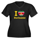 I love Suriname Women's Plus Size V-Neck Dark T-Sh