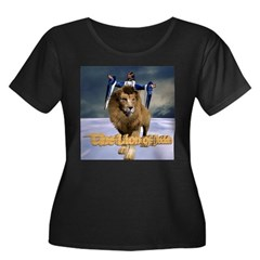 Lion - Women's Plus Size Scoop Neck Dark T-Shirt