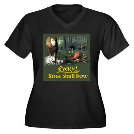 EveryKnee Women's Plus Size V-Neck Dark T-Shirt