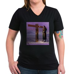 Crossroads - Women's V-Neck Dark T-Shirt