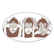 No Evil Monkeys Oval Decal