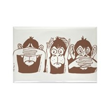 No Evil Monkeys Rectangle Magnet