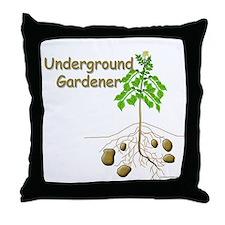 Underground gardener Throw Pillow