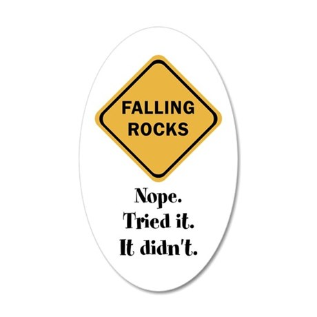 falling doesn't rock 20x12 Oval Wall Decal