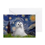 Starry Night & Maltese Greeting Card