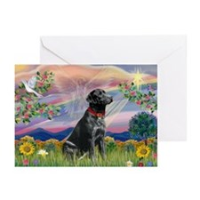 Cloud Angel & Black Lab Greeting Cards (Pk of 20)