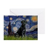 Starry Night Black Lab Greeting Card