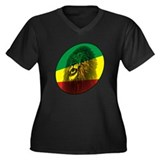 Jah Lion Women's Plus Size V-Neck Dark T-Shirt