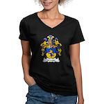 Winter Family Crest  Women's V-Neck Dark T-Shirt