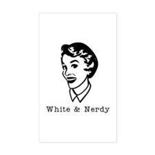 White & Nerdy Woman Rectangle Decal