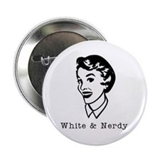 White & Nerdy Woman Button