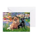 Lilies (2) & 2 Chihuahuas Greeting Cards (Pk of 10