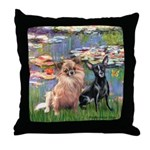 Lilies (2) & 2 Chihuahuas Throw Pillow