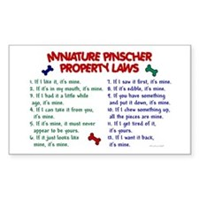 Miniature Pinscher Property Laws Sticker (Rectangu