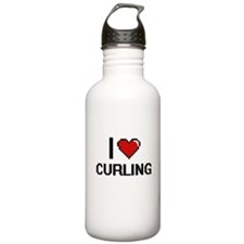 I Love Curling Digital Water Bottle
