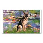 Lilies & G-Shep Sticker (Rectangle)