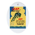 Leap Don't Lag Frog Oval Ornament