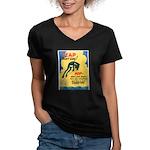 Leap Don't Lag Frog (Front) Women's V-Neck Dark T-