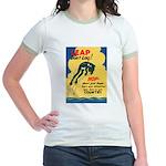Leap Don't Lag Frog (Front) Jr. Ringer T-Shirt