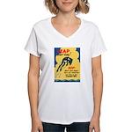 Leap Don't Lag Frog Women's V-Neck T-Shirt
