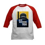 He's Watching You (Front) Kids Baseball Jersey