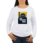 He's Watching You (Front) Women's Long Sleeve T-Sh