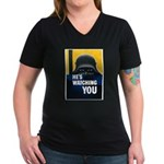 He's Watching You (Front) Women's V-Neck Dark T-Sh