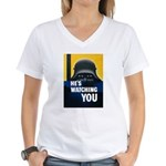 He's Watching You (Front) Women's V-Neck T-Shirt