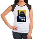 He's Watching You (Front) Women's Cap Sleeve T-Shi