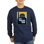 He's Watching You (Front) Long Sleeve Dark T-Shirt