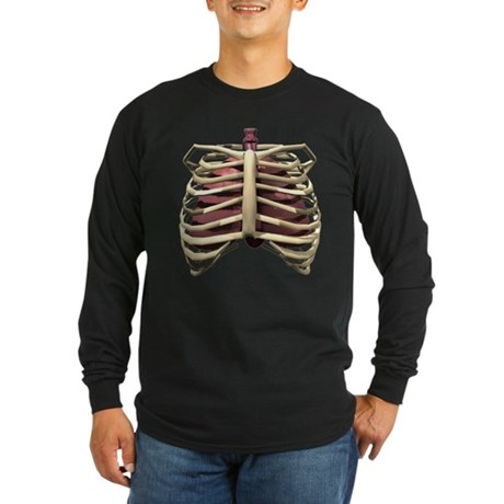 3D Surreal Ribcage Long Sleeve Dark T-Shirt
