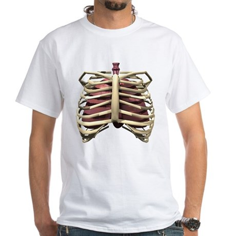 3D Surreal Ribcage White T-Shirt