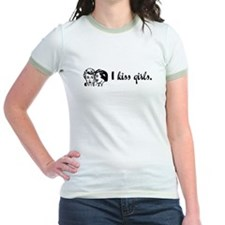 I Kiss Girls Jr. Ringer T-shirt