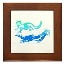 Otters Aquamarine Framed Tile