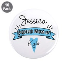 """Proud Mom Of Son 3.5"""" Button (10 pack)"""