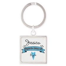 Proud Mom Of Son Square Keychain