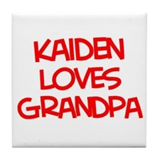 Kaiden Loves Grandpa Tile Coaster