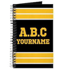 Black Yellow Jersey Stripes Personalized Journal