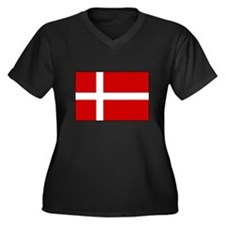 Danish Flag Women's Plus Size V-Neck Dark T-Shirt
