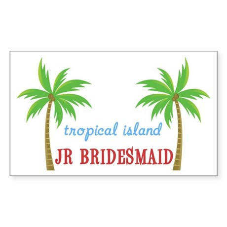 Jr Bridesmaid Tropical Wedding Sticker (Rectangula