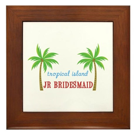 Jr Bridesmaid Tropical Wedding Framed Tile